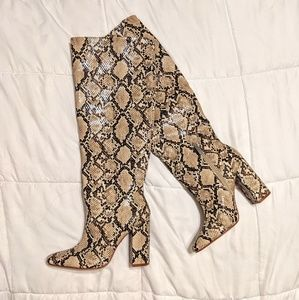 Zara Snakeskin Heeled Boots
